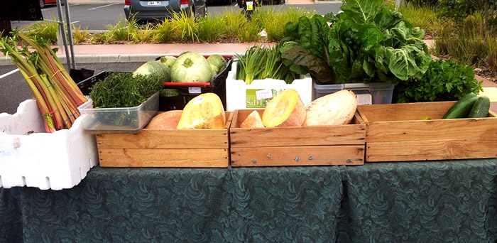 Market produce from 2 & 5's successful organic farm in Norlane, Geelong.